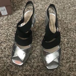 Silver Prada Heels